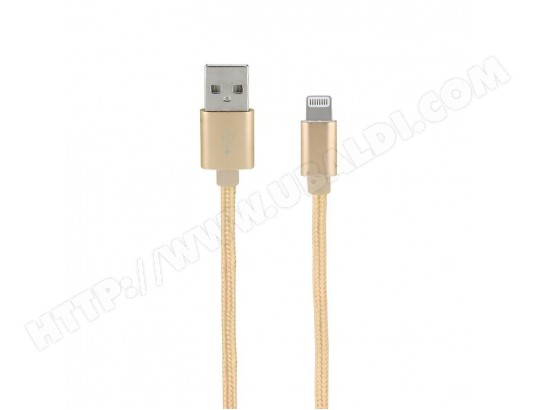 Câble IPhone IPad lightning MFI nylon data et charge or 1 m MOOOV MA-79CA505CABL-06RMP