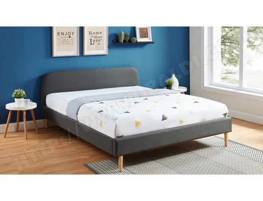 Lit adulte scandinave 180x200 gris foncé - Collection Gaby HOMIFAB MA-44CA195LITA-BW1HF