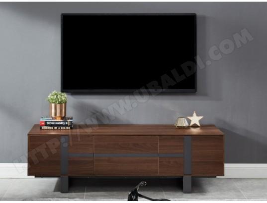 Meuble TV PETILLANTE - 3 portes - MDF & métal - Coloris ...