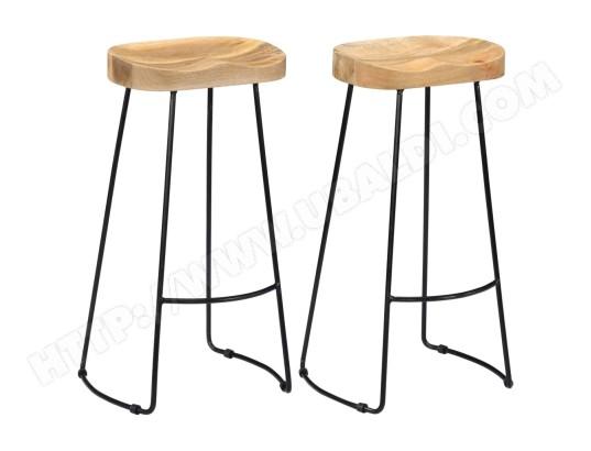 ICAVERNE Icaverne Tabourets et chaises de bar Magnifique Tabourets de bar Gavin 2 pcs 45x40x78cm Bois de manguier massif ICAV247838