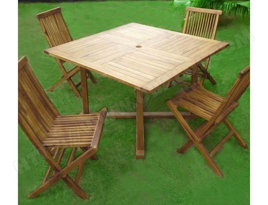 salon en teck pour le jardin avec 4 chaises et sa table ...