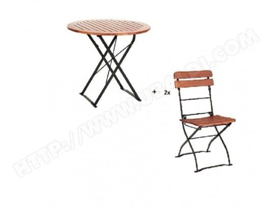 HABRITA - Salon de jardin CAFE en acacia table ronde pliable ...