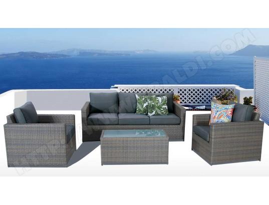 Salon de jardin aluminium + resine tressé, coloris marron ...