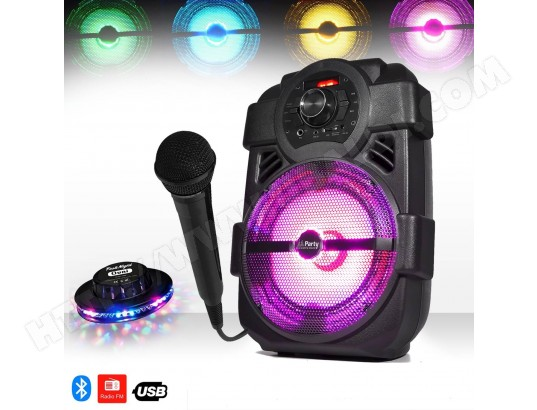 Enceinte mobile KARAOKE batterie 250W à LEDs USB/BLUETOOTH/FM + Jeu lumière OVNI + Micro PARTY LIGHT &SOUND MA-52CA431ENCE-H2K6L