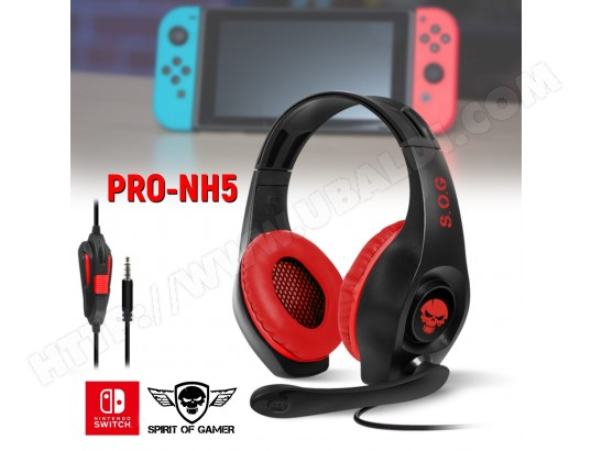 Casque audio PRO NH5 pour Nintendo SWITCH Spirit of Gamer - Stéréo - 40mm SPIRIT OF GAMER MA-11CA53_CASQ-VTDQ1