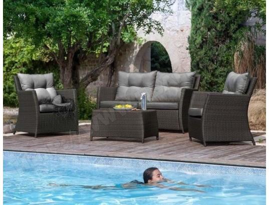 Salon détente résine tressée 2 fauteuils + 1 canapé + 1 ...