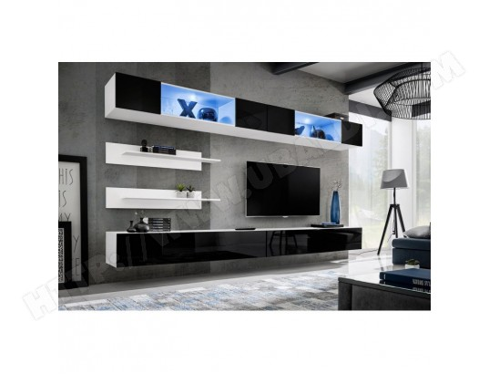 Meuble Tv Mural Design Fly Viii 320cm Noir Blanc Paris Prix Ma 12ca487pari 7c7wr Pas Cher Ubaldi Com