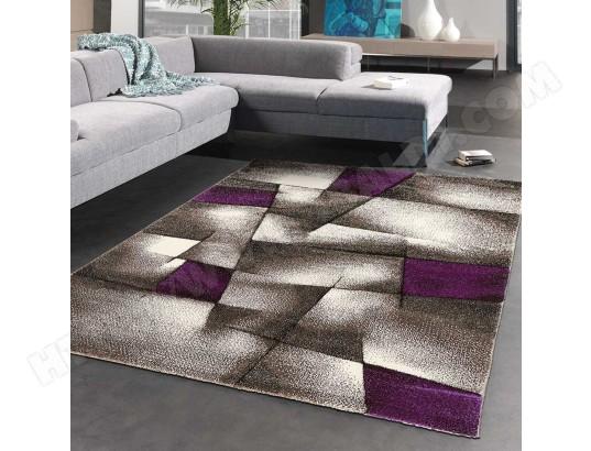 Tapis salon moderne de créateur PARLAK 3D violet, gris, noir ...