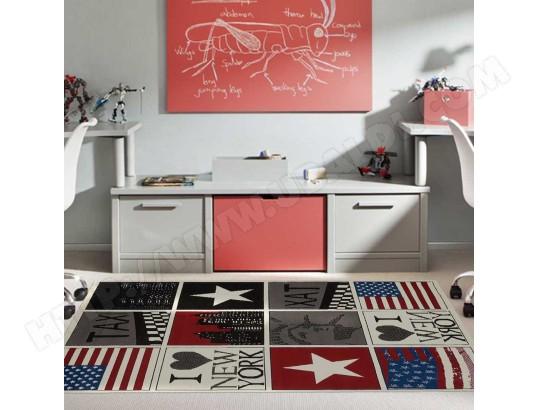 Tapis chambre BC NEW YORK USA rouge 235 x 320 cm Fabriqué en ...