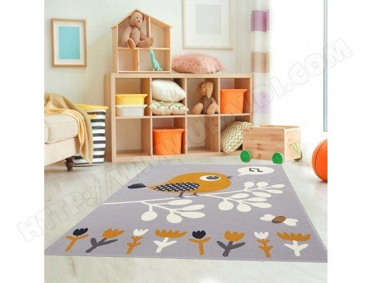 Tapis ludique pour chambre d\'enfant AF PIAF gris, orange ...