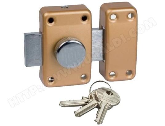 Verrou de sécurité à bouton pour porte de 40 mm d/'epaisseur maxi 3 clés fournie