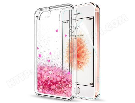 MP-FRANCE - Coque iPhone 5,iPhone 5S,iPhone SE Avec Verre trempé (lot de 2), etui paillette liquide Antichoc Film protecteur MA-70CA500COQU-KIZY8