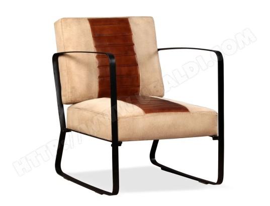 ICAVERNE Icaverne Fauteuils club, fauteuils inclinables et chauffeuses lits sublime Chaise de salon Cuir véritable et Toile Marron