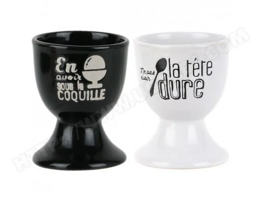 Set Lot 2 Coquetiers Repose Oeuf A La Coque Décor Bistrot Inscription Fun PROMOBO MA-80CA105SETL-MOKYV