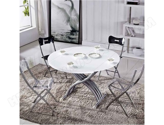 Rima Table Basse Relevable Extensible Ronde Blanche Mobilier