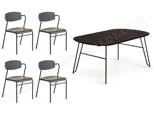 Ensemble table et chaises LF Norfort ronde 140/220 + 4 ...