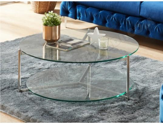 Table Basse Abigael Double Plateau Verre Trempe Acier Vente