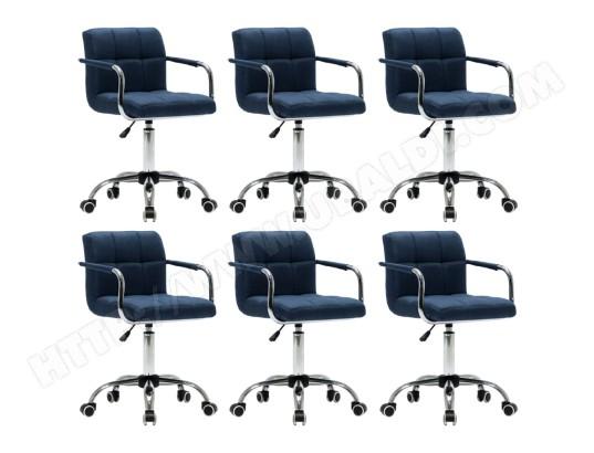 ICAVERNE Icaverne Chaises de cuisine gamme Chaises pivotantes de salle à manger 6 pcs Bleu Tissu MA 22CA493ICAV ZLZ41