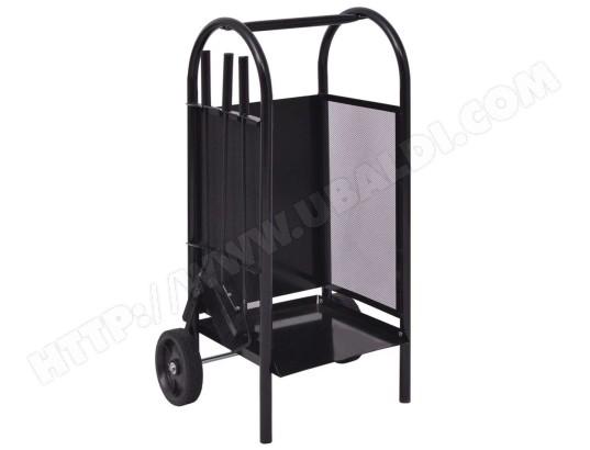 distingu accessoires pour chemin es et po les bois serie vientiane chariot bois en fer 35 x
