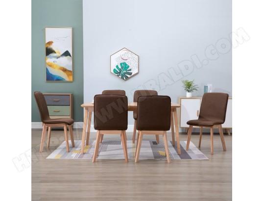 ICAVERNE Chic Fauteuils et chaises ensemble Amsterdam 6 pcs Chaises de salle à manger Marron Tissu et chêne massif MA 78CA493CHIC 8JZ9B