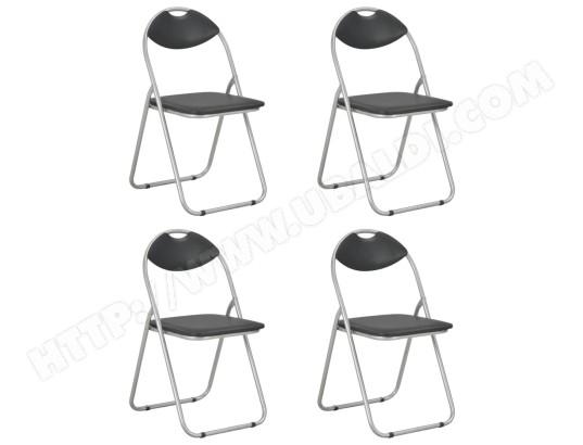 ICAVERNE Stylé Fauteuils et chaises reference Roseau Chaises pliantes de salle à manger 4 pcs Noir Similicuir MA 78CA493STYL VP03I