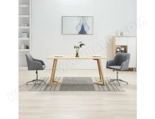 ICAVERNE Splendide Fauteuils et chaises collection Brasilia 2 pcs Chaises pivotantes de salle à manger Gris clair Tissu MA 78CA493SPLE 3AIZ3
