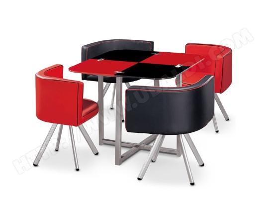 GIOVANNI MARCHESI Ensemble Table de repas avec 4 chaises Design MALAGA Noir & Rouge MA 82CA492ENSE 00Y5T