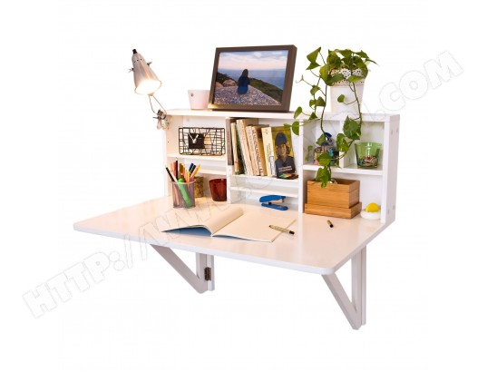 Fwt07 W Table Murale Rabattable Avec Etagere Integree Armoire