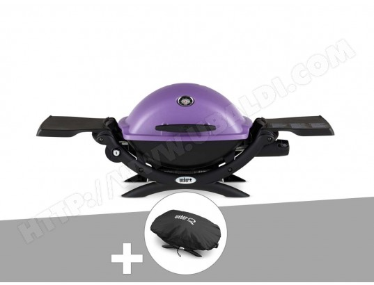 Barbecue gaz Weber Q 1200 Purple + Housse + Kit Ustensile + Plancha WEBER MA-33CA106BARB-HR1V1
