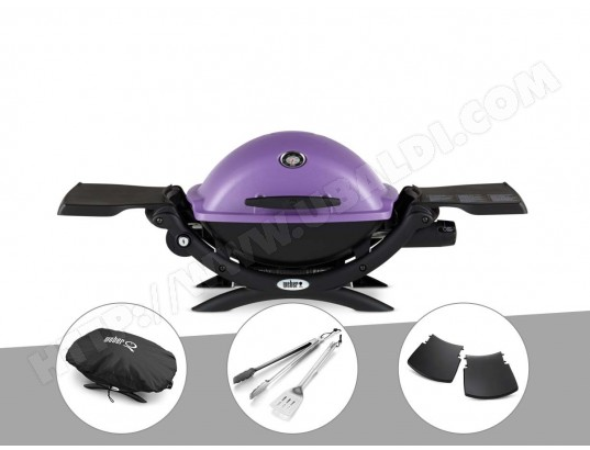 Barbecue gaz Weber Q 1200 Purple + Kit Ustensile WEBER MA-33CA106BARB-UHEIV
