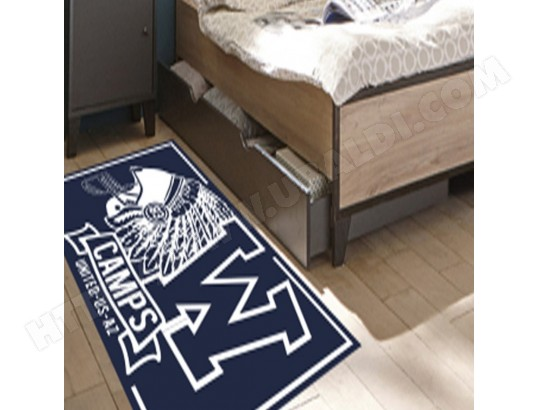 Tapis chambre adolescent INDIAN CAMPS marine, blanc 80 x 120 ...