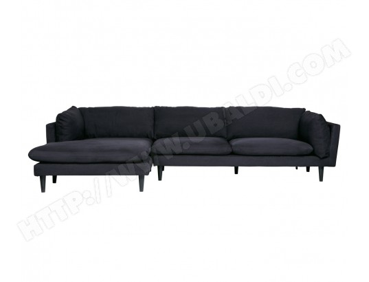 Canapé Chaise Longue gauche en polyester noir - L 315 x P ...