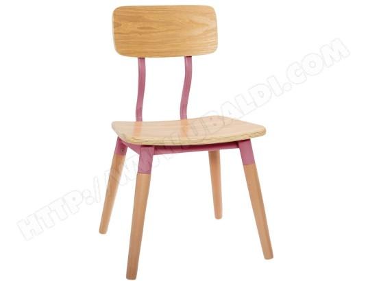 PEGANE Chaise enfant en bois avec des pieds roses L.30,5 x l.28 x H.53 cm PEGANE 22JUS 158702A