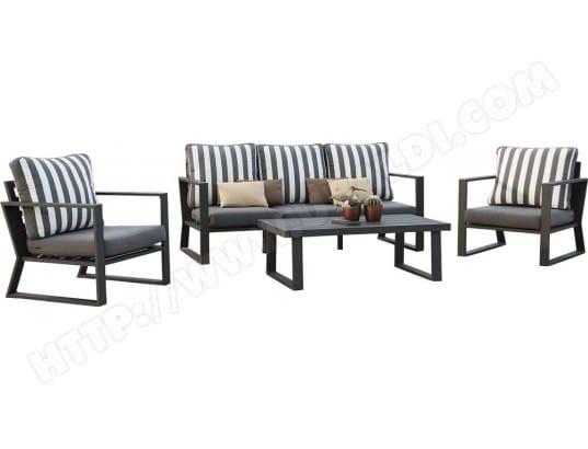 Salon de jardin en aluminium gris noir Boli HEVEA 23092 Pas Cher ...