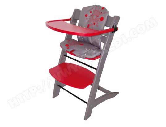 Chaise haute évolutive BADABULLE B010008 rouge et taupe Pas Cher ...