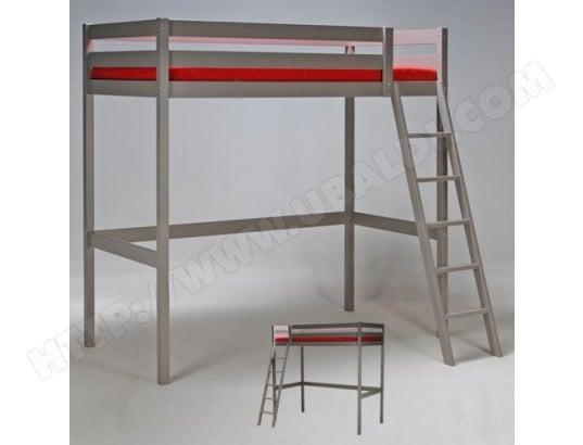 lit mezzanine 140x190 studio 1 sommier gris le quai des affaires 322144 pas cher. Black Bedroom Furniture Sets. Home Design Ideas