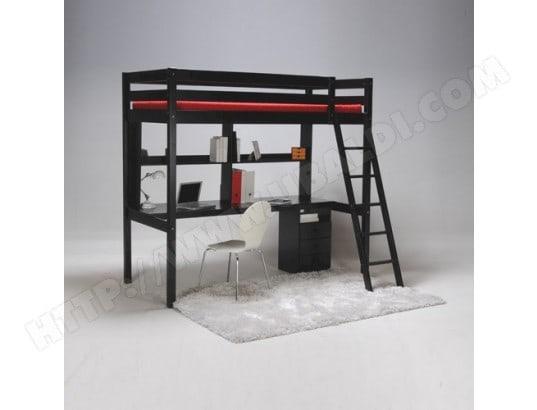 Lit mezzanine studio 90x190 caisson 3 tiroirs bureau étagère