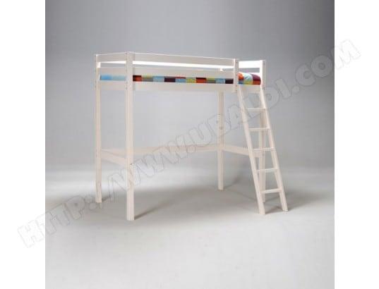 lit mezzanine studio 90x200 1 sommier blanc le quai des affaires 32209z pas cher. Black Bedroom Furniture Sets. Home Design Ideas