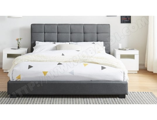 lit adulte avec t te de lit capitonn e en tissu gris fonc sommier latte 140x190. Black Bedroom Furniture Sets. Home Design Ideas