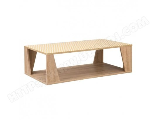 Table Basse Chêne Clair Scandinave Teddy L 110 X L 60 X H 35