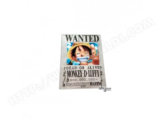 ONE PIECE - Plaque métal Luffy Wanted (28x38) ABYSTYLE MA-24CA371ONEP-4P3TR