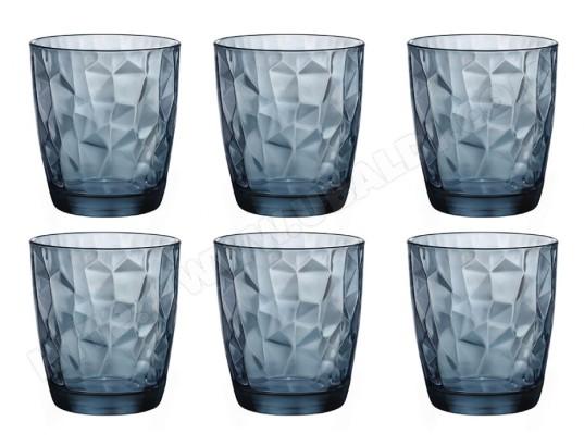 VENTE UNIQUE Lot de 6 verres à eau en relief jane verre capacité 30 cl bleu MA 82CA588LOTD RJ5M2