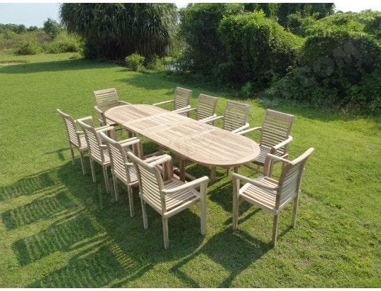Salon de jardin en teck HENUA 10 fauteuils empilables CONFORT ...