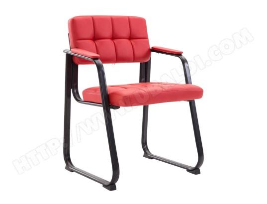 DECOSHOP26 Chaise visiteur fauteuil de bureau sans roulette simili cuir rouge bur10229 MA 14CA549CHAI 4SZ5K