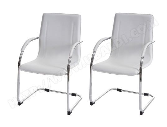 DECOSHOP26 Lot de 2 chaises bureau visiteur en simili cuir blanc avec accoudoir bur04068 MA 14CA549LOTD VOMXG