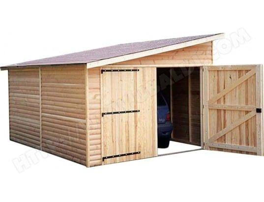 Garage en bois avec porte double 1 pente kompact 6 m cihb for Cihb