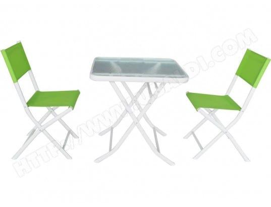Salon de jardin en textilène Bistro - Phoenix - Vert HABITAT ET ...