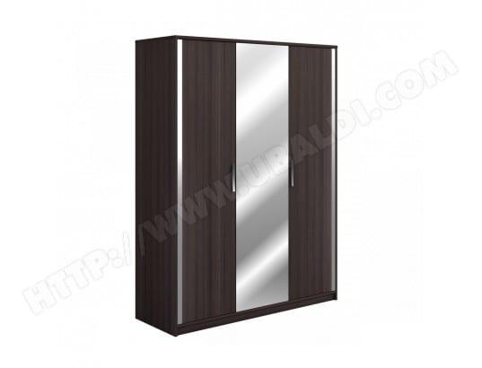 armoire 3 portes effet ch ne vulcano gris largeur 155 cm ar124 terre de nuit ma 69ca194armo. Black Bedroom Furniture Sets. Home Design Ideas