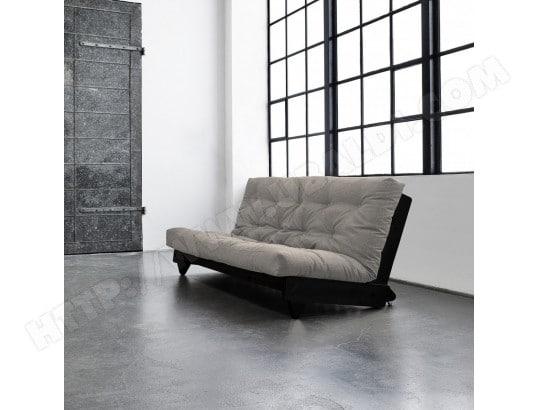 Pack futon coton taupe 140x200 banquette fresh wengé - Terre ...