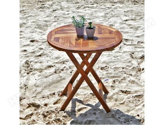 Table de jardin en bois de teck ronde pliante BOIS DESSUS ...